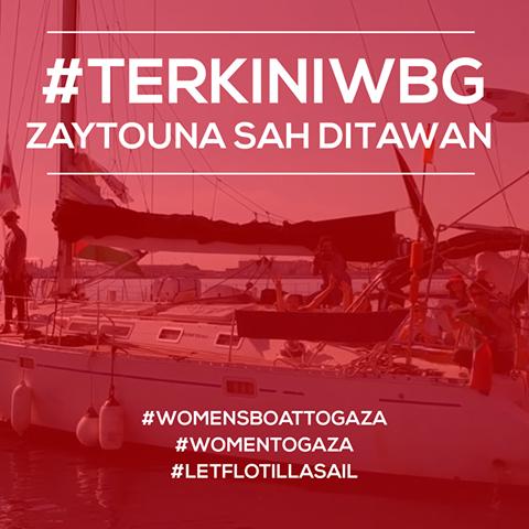 Kapal Zaytouna-Oliva Women's Boat to Gaza sah ditawan tentera Israel