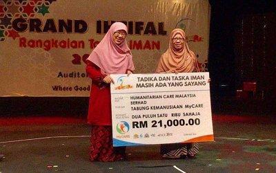 MyCARE menerima sumbangan RM101,000 dari Tadika dan Taska IMAN